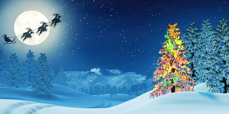 A moonlit snowy Christmas landscape at night under a full moon. The trees are covered in snow and one of the trees is lit by colourful Christmas lights. Santa Claus is passing by in his sleigh.