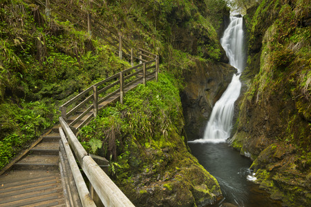 The Ess-Na-Laragh waterfall in Glenariff Forest Park in Northern Ireland.