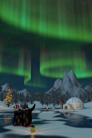 northern lights: Penguins watching the northern lights on a frozen lake in a snowy Christmas mountain landscape. A 3d render. Stock Photo