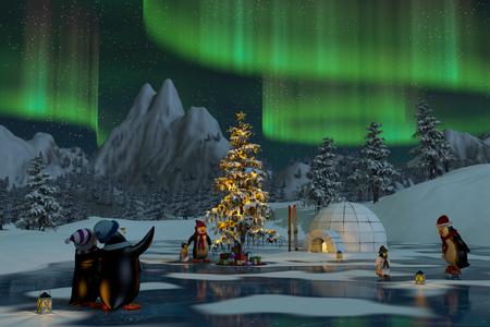 Pingüinos bajo las luces del norte en un lago congelado en un paisaje nevado de montaña de la Navidad. Un 3d rinde.