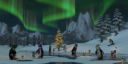ice fishing: Penguins under the northern lights on a frozen lake in a snowy Christmas mountain landscape. A 3d render.