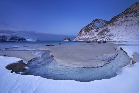 Haukland beach on the Lofoten in northern Norway on a cold winters morning.