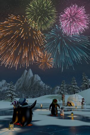 night lights: Fireworks over a frozen lake in a snowy mountain landscape with penguins. A 3d render. Stock Photo
