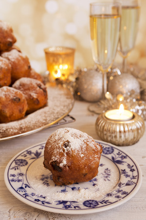 Champagne and Oliebollen, traditional Dutch pastry for New Years Eve.