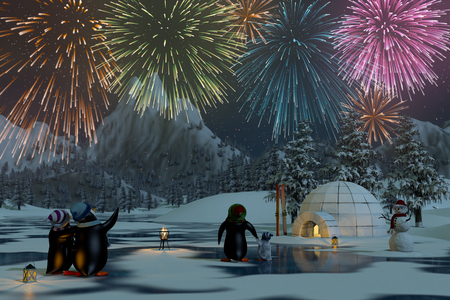 Fireworks over a frozen lake in a snowy mountain landscape with penguins. A 3d render. Stock Photo