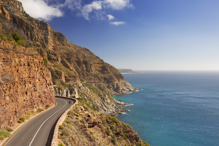 chapmans: The Chapmans Peak Drive on the Cape Peninsula near Cape Town in South Africa on a bright and sunny afternoon.