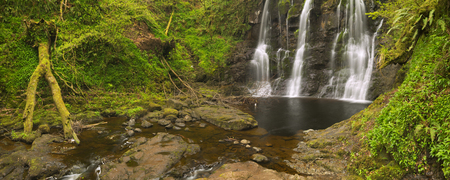 The Ess-Na-Crub waterfall in Glenariff Forest Park in Northern Ireland. Stock Photo