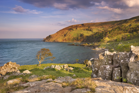 Evening sunlight over the idyllic Murlough Bay on the Causeway Coast of Northern Ireland.