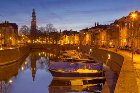 middelburg holland the city of with lange jan church tower in netherlands at night nightlife