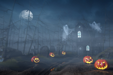 A cabin in a spooky and misty Halloween forest at night with Jack OLanterns and ghosts.