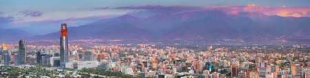 The skyline of Santiago in Chile. Photographed from Cerro San Cristobal at sunset.
