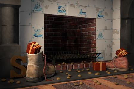 贈り物は、伝統的なオランダ語の休日シンタークラースの暖炉、または 'シェーン zetten' によって靴のまま。