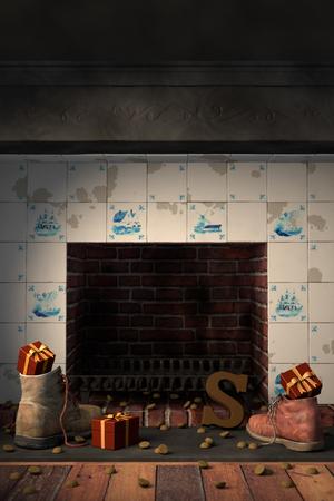 Giften in de schoenen bij de open haard, of 'schoen zetten' voor de traditionele Nederlandse vakantie Sinterklaas.