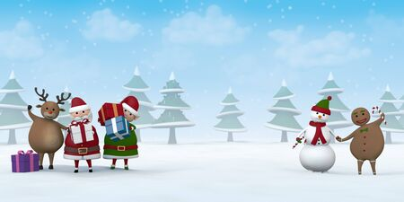 Santa Claus, a Christmas Elf, a reindeer, a snowman and Gingerbread Man with Christmas gifts in a snowy winter landscape.