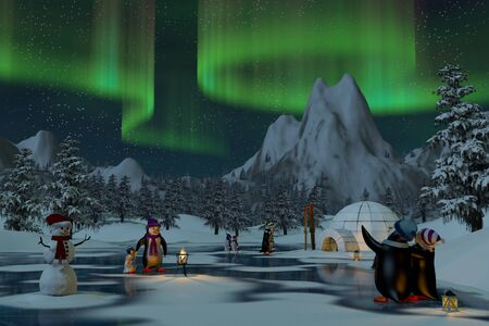 Penguins under the northern lights on a frozen lake in a snowy mountain landscape. A 3d render. Imagens