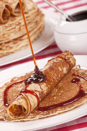 molasses: Dutch pannenkoeken met stroop or pancakes with syrup.