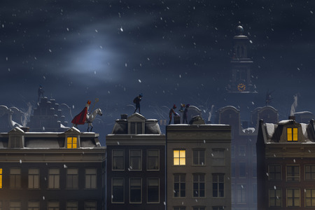 Sinterklaas and the Pieten on the rooftops at night, a scene for the traditional Dutch holiday Sinterklaas, 3d render.
