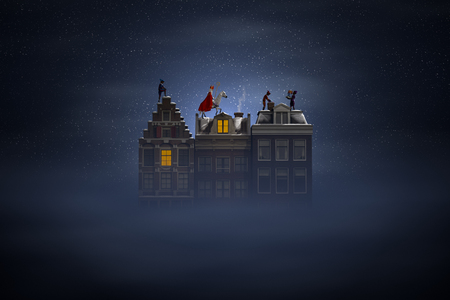 Sinterklaas and the Pieten on the rooftops at night, a scene for the traditional Dutch holiday 'Sinterklaas', 3d render.