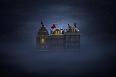 Sinterklaas en de Pieten op de daken 's nachts, een scène voor de traditionele Nederlandse vakantie Sinterklaas, 3D render.