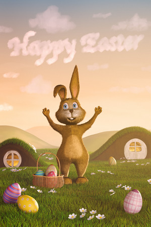 A cute Easter bunny surrounded by Easter eggs. The words Happy Easter have formed in the sky by clouds.