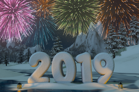 The year 2019 sculpted in snow with fireworks in a mountain landscape. A 3d render.