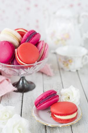A collection of pink macarons. Reklamní fotografie