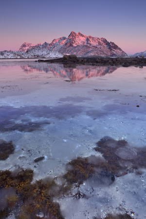Mountain peaks reflected in the water on the Lofoten in northern Norway at sunset. 版權商用圖片