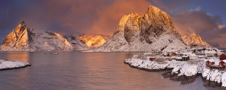 Spectacular light over the village of Reine on the Lofoten, northern Norway in winter.