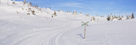 A cross-country trail through a snowy landscape in Trysil in Norway. Photographed on a sunny day in winter.
