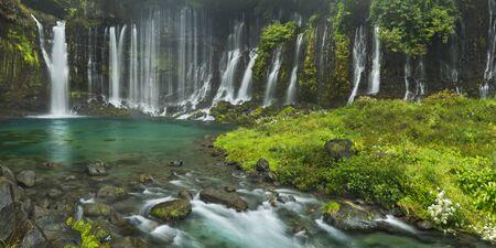 The beautiful Shiraito Falls (Shiraito-no-taki, 白糸の滝) at the foot of Mount Fuji, Japan.