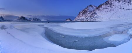Haukland beach on the Lofoten in northern Norway on a cold winter's morning.