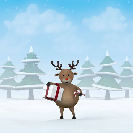 A reindeer holding a Christmas Gift and a candy cane in a snowy winter landscape.