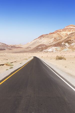 The Artist's Drive in Death Valley National Park, California, USA on a clear day. Stok Fotoğraf - 137304651