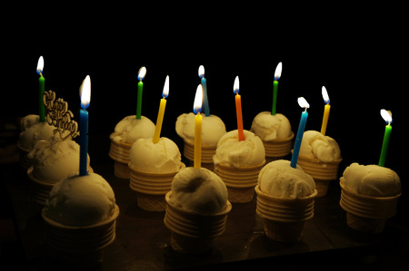 birth day: Candles on Ice Cream Cake for Happy Birth day Stock Photo