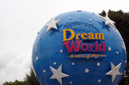 theme parks: The large Dream World logo globe. Dream World is one of Thailands famous theme parks