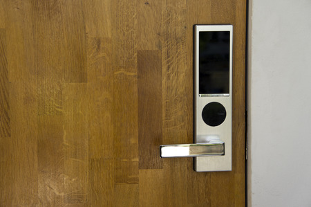 lock: Electronic lock on door
