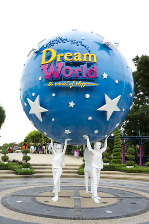 theme parks: The large Dream World logo globe on JULY 19, 2014. Dream World is one of Thailands famous theme parks Editorial