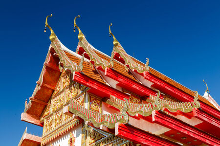buddhist temple roof: Gable roof at buddhist temple. Stock Photo