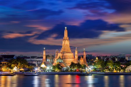 Wat Arun Temple at sunset in bangkok Thailand . Stock Photo