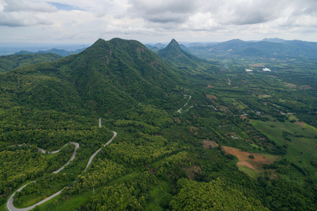 rural skyline: Aerial view of countryside and the road in Thailand.