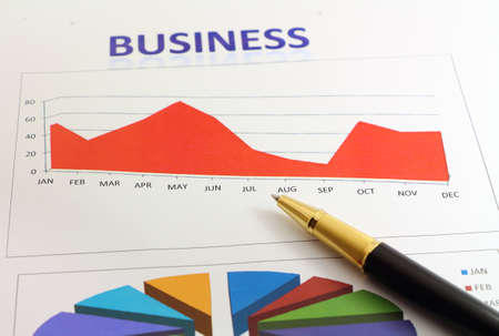 planing: Production graph  business graph and planing Stock Photo
