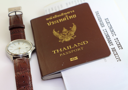 foreign national: Passport and travel business  tourist ticket Stock Photo