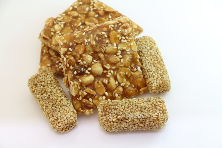 nut cracker: Thai sweet cracker that made from nut and rice Stock Photo