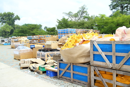 salvage yards: Rayong Industrial, THAILAND - November 06 2015: Box and paper scrap in factory ,automotive parts industrial at Rayong industrial Thailand Stock Photo