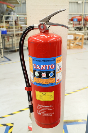 extinguishers: Rayong factory - Thailand , FEB 18 - 2016 : Fire extinguishers and fire alarm are used in industry. Is very important And must be checked usually Editorial