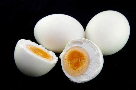 salted egg made from duck egg on black background Stock Photo - 64256953