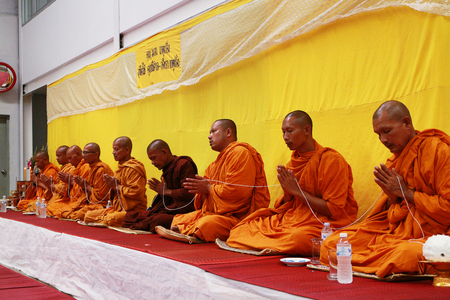 Rayong Thailand , October 21 - 2016 : Thai monk Prayer and blessing to the people in Thailand Rayong. Editorial