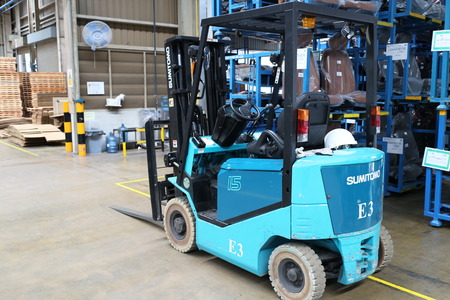 moving crate: Rayong Thailand , October 19 - 2016 : lift truck in factory warehouse use for move part and material supply to customer in Thailand.
