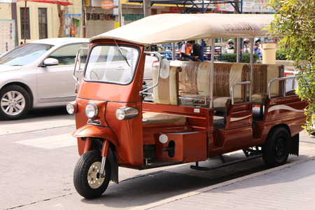 Rayong Thailand , January 29 - 2017 : Thai taxi car for travel in Sriracha city Thailand , this very popular of tourism and local people  in Thailand