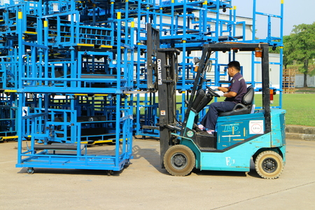 Rayong Thailand , FEBRUARY 27 - 2017 : Lift truck working in factory for moving matrial and goods